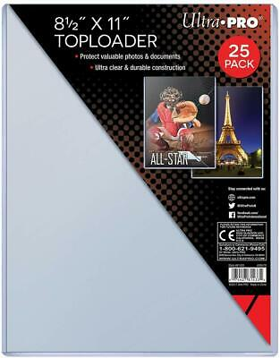 Pack of (25) ~ Ultra Pro 8.5 x 11 Picture Photo Clear Rigid Top Loaders ~ 8.5x11
