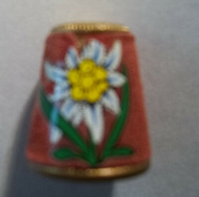 Vtg Austria Sewing Thimble  Leather w/ Gold Tone Metal Country Flower Edelweiss
