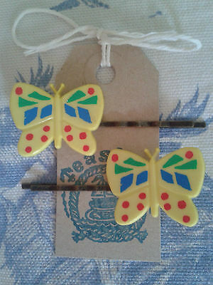 HAND MADE Butterfly 50's Vintage hair slides Available in 2 colours
