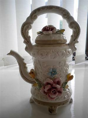 VINTAGE CAPODIMONTE FLORAL TEA / COFFEE POT # 1214/23 - EXCELLENT CONDITION