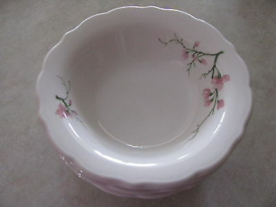 Vintage Syracuse Restaurant China Pink Cherry Blossoms Lot 3 Cereal Soup Bowls