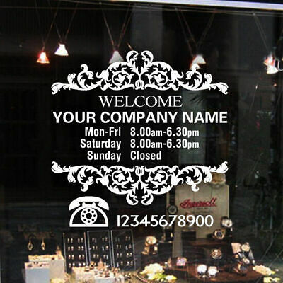 Custom Vinyl Lettering TRADING HOURS CONTACT sticker decal business shop sign
