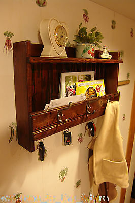 """24""""w Handcrafted wall Letter Mail Organizer, Key Holder, Coat Rack, Red Mahogany"""