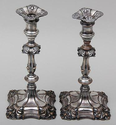 Antique Pair 19th Old Sheffield Candlesticks Silver on Copper 18th centruy Taste