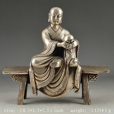 Chinese silver bronze Old Handwork Hammered Vivid Monk Statue Decor Collectable
