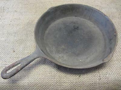 "Vintage 10 1/2"" Cast Iron Skillet > Camping Antique Old 8675"