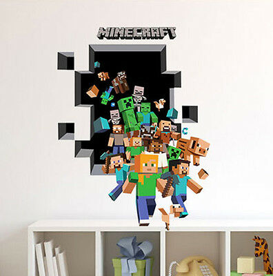 3D Large MINECRAFT Removable Wall Stickers Kids Room Vinyl Wall Decal Art Mural