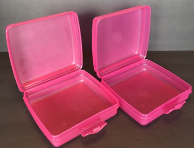 New Tupperware Sandwich Keepers Set of 2 Pink Great for Crayons Stickers + Rare