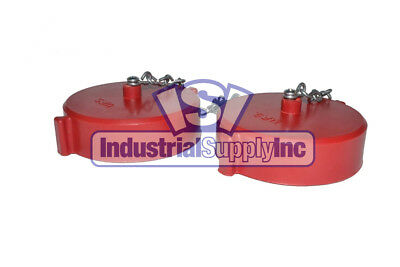 "2pk 2-1/2"" NST(F) Polycarbonate Red Fire Hose Hydrant Cap and Chain"