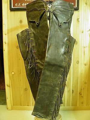 VERY RARE VINTAGE ANTIQUE COLLECTIBLE WESTERN COWBOY 1800s FRINGED SHOTGUN CHAPS