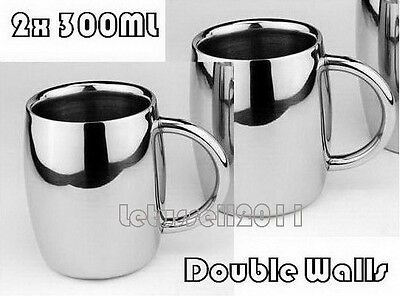 300ML 2x STAINLESS STEEL DOUBLE-WALL BILAYER TEA COFFEE BEER MUGS CUPS