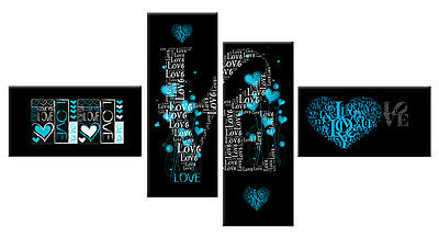 LARGE LOVE, HEARTS, TURQUOISE BLACK WHITE CANVAS SPLIT WALL PICTURE 146cm  WIDE