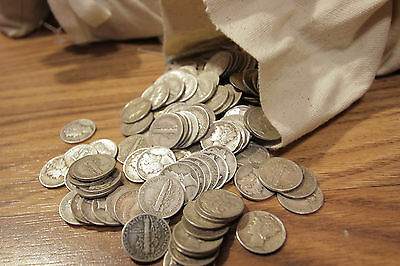 Survival Money 1916-1945 Mercury Dime 90% Silver Circulated Currency Coin