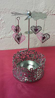 Silver Rotary Spinning Heart T Light Candle Holder Valentine Vintage Chic Gift