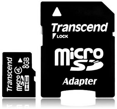 Transcend 8GB Micro SD Memory Card with Adapter for Blackberry Samsung LG Phone