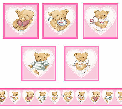 Dolls House Wallpaper Border Nursery 55 ins long + 5 posters Teddies 1/12th B32P