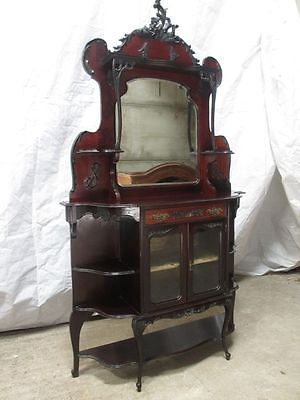 Victorian carved Mahogany Art Nouveau mirror backed side cabinet (ref 161)