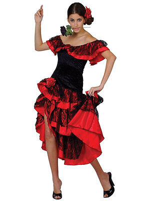 Adult Ladies Spanish Senorita Fancy Dress Flamenco Dancer Costume UK Sizes 6-24