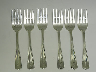 Rare Set Of 6 Antique Art Deco Simpson Hall & Miller Cold Meat Fork