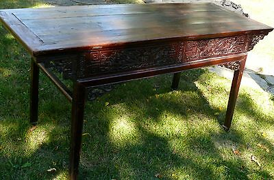 Antique Asian Chinese Alter Table Love Birds Carved Wood