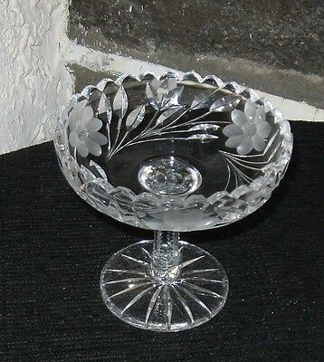 Crystal compote elegant with etched flowers