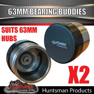 2x 63mm ALL STAINLESS STEEL TRAILER BEARING PROTECTORS. BEARING BUDDIES BOAT