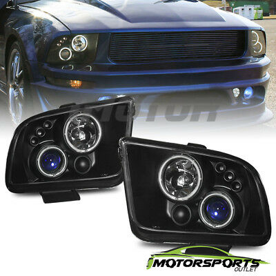 Ccfl Halo 2005 2006 2007 2008 2009 Ford Mustang Black Projector Headlights Set