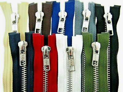 YKK Metal Open End Zip (5mm Wide Zip Chain) 9 Colours 17 Sizes -- Swift Dispatch