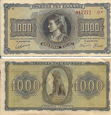 Greece P118, 1000  Drachma, Young Woman in local costume / lion 1942 F/VF