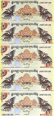 LOT, Bhutan,  5 x 5 Ngultum, 2011, P-36, UNC -> ornate