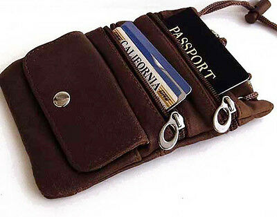 Brown Genuine Leather ID Holder Neck Pouch Travel Passport Cross Body Bag
