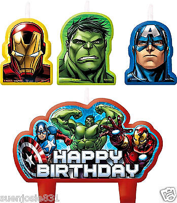Marvel Avengers Assemble Cake Candles 4pc Party Supplies Cupcake Toppers Set