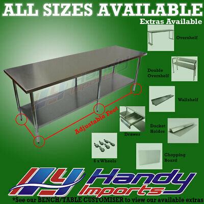 2438 x 610mm STAINLESS STEEL #430 COMMERCIAL FOOD PREP WORK BENCH OFFICE TABLE
