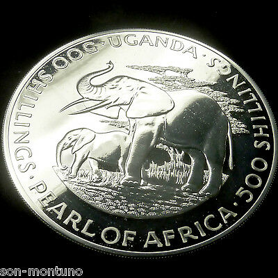 UGANDA 1981 Silver Elephant  Proof-Like  4 Oz  Sterling LOW MINTAGE African Coin