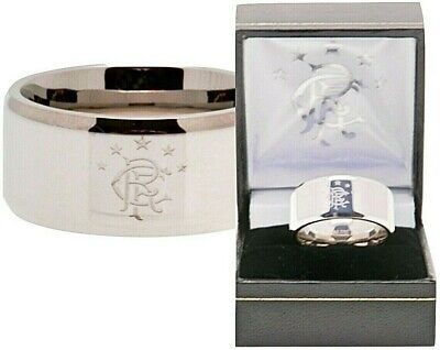 Glasgow Rangers Fc Licensed Stainless Steel Crest Band Ring Complete In Gift Box