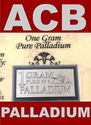 ACB PALLADIUM 1 GRAM BAR WITH CERTIFICATE SOLID 99.9 PURE Pd BULLION MINTED