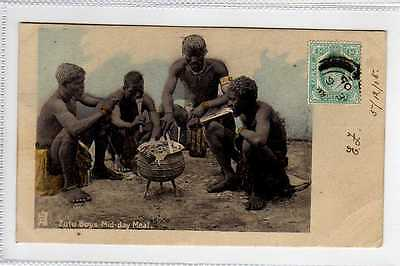 (Lx014-388)  Zulu Boys Mid-day Meal,  Used 1905 G-VG