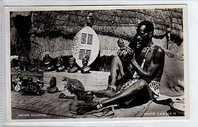 (Lx197-388) Real Photo, Zulu, Native Sculptor, Unused VG-EX