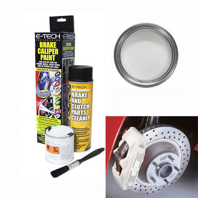 E-Tech Brake Caliper Engine Paint Kit - Paint, Cleaning Spray + Brush - White