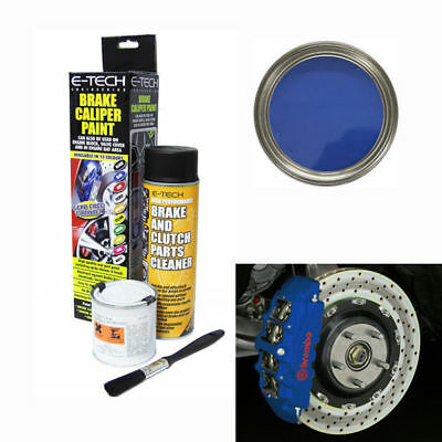 E-Tech Brake Caliper Engine Paint Kit - Paint, Cleaning Spray + Brush - Blue