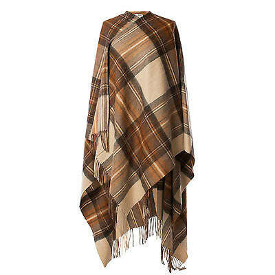 EDINBURGH LAMBSWOOL 100% Lambswool Ladies Cape Tartan Stewart Natural Dress