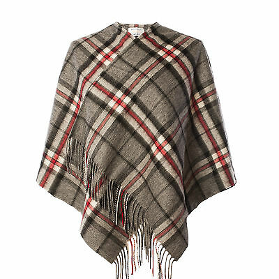 EDINBURGH LAMBSWOOL 100% Lambswool Girls & Ladies Cape Tartan Thomson Grey