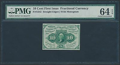 Fr1242 S.e. 10¢ Fractional Currency 1St Issue With Monogram Pmg 64 Epq Br1196