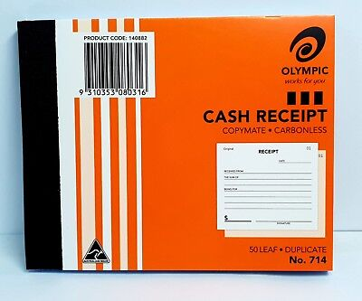 Olympic #714 Duplicate Cash Receipt Book - AO140882