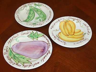 Hand Crafted & Hand Painted Ceramic Salad Plates, Signed By Artist, Italy