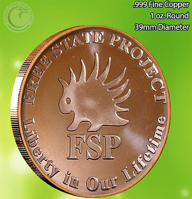 """Free State Project FSP"" 1 oz .999 Copper Round Very Limited and Rare"