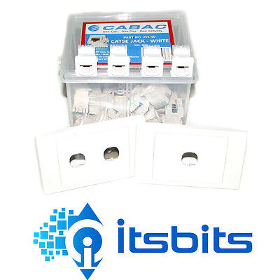 CABAC 6x CAT5e RJ45 JACKS + 3x DOUBLE WALL PLATES  NETWORK LAN CONNECTIONS