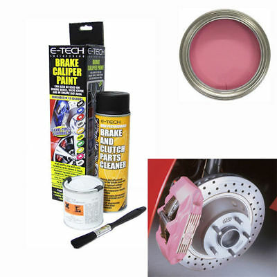 E-Tech Brake Caliper Engine Paint Kit - Paint, Cleaning Spray + Brush - Pink