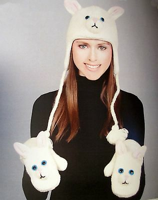 WHITE CAT HAT & MITTENS SET knit ADULT costume LINED pom pons PINK PAWS mitts