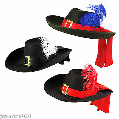 Adult Mens Ladies Black Musketeer Fancy Dress Cavalier Costume Hat with Feather